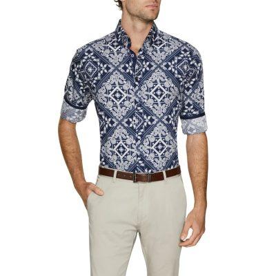 Fashion 4 Men - Tarocash Bandana Slim Print Shirt Navy Xxl