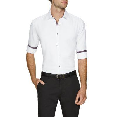 Fashion 4 Men - Tarocash Casper Textured Slim Shirt White S