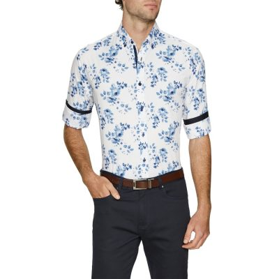 Fashion 4 Men - Tarocash Derby Stretch Print Shirt Blue M