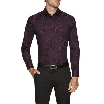 Fashion 4 Men - Tarocash Devon Slim Floral Print Shirt Burgundy 4 Xl