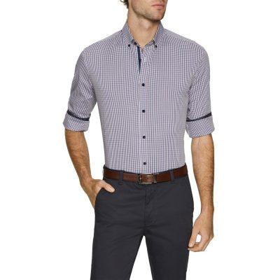 Fashion 4 Men - Tarocash Ethan Stretch Check Shirt Burgundy M