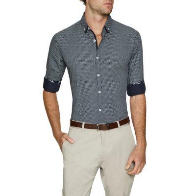 Fashion 4 Men - Tarocash Hugo Print Shirt Navy Xxxl