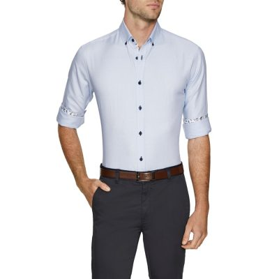 Fashion 4 Men - Tarocash Liam Textured Shirt Sky 4 Xl