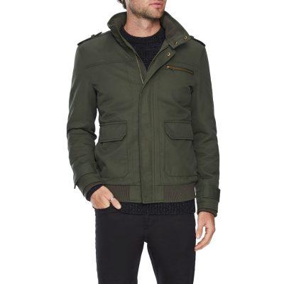 Fashion 4 Men - Tarocash Lyon Textured Zip Thru Jacket Khaki M