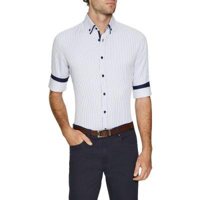 Fashion 4 Men - Tarocash Miles Slim Stripe Shirt Blue M