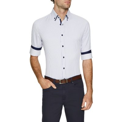 Fashion 4 Men - Tarocash Miles Slim Stripe Shirt Blue S