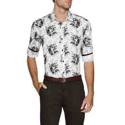 Fashion 4 Men - Tarocash Orlando Stretch Print Shirt White S