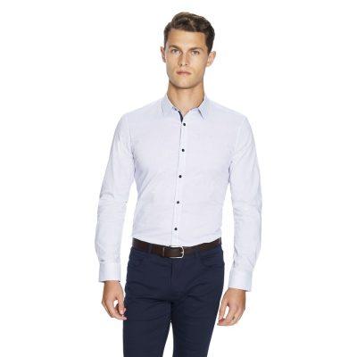 Fashion 4 Men - yd. Apsley Slim Fit Shirt White/Blue M
