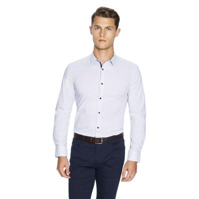Fashion 4 Men - yd. Apsley Slim Fit Shirt White/Blue S