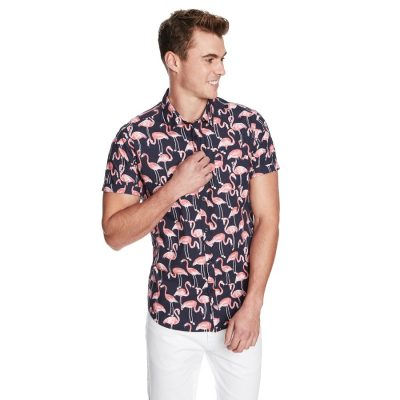 Fashion 4 Men - yd. Big Flamingo Ss Shirt Navy Xxl