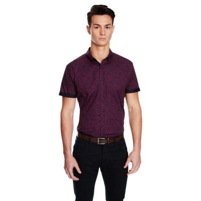 Fashion 4 Men - yd. Euro Paisley Slimfit Ss Shirt Grape Xxl