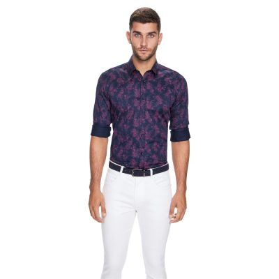 Fashion 4 Men - yd. Floral Slim Fit Shirt Navy 2 Xs