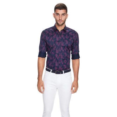 Fashion 4 Men - yd. Floral Slim Fit Shirt Navy 3 Xs