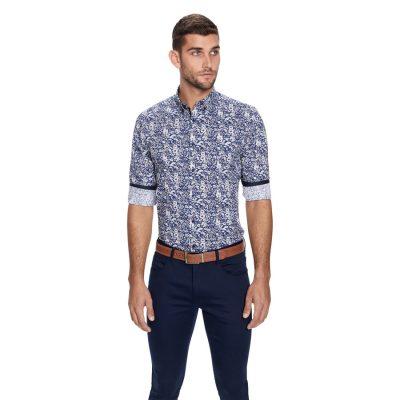 Fashion 4 Men - yd. Kitz Floral Print Slim Fit Shirt Blue Print L