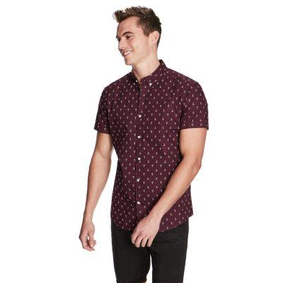 Fashion 4 Men - yd. Large Anchor Shirt Burgundy S