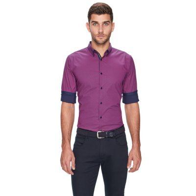 Fashion 4 Men - yd. Leeman Slim Fit Shirt Pink 3 Xs