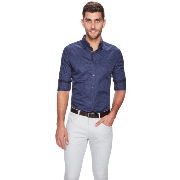 Fashion 4 Men - yd. Paisley Slim Fit Shirt Dark Blue 3 Xs