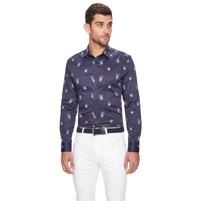 Fashion 4 Men - yd. Parrot Floral Print Slim Fit Shirt Dark Blue 2 Xs