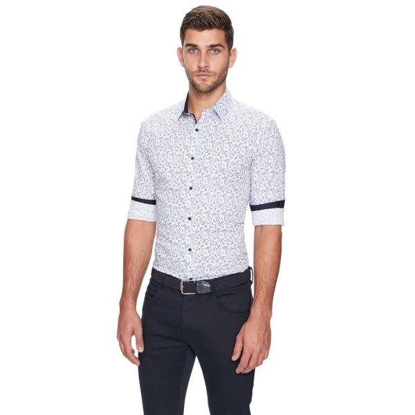 Fashion 4 Men - yd. Pineapple Print Slim Fit Shirt White M