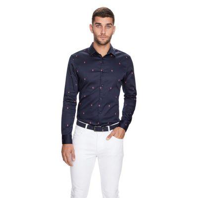 Fashion 4 Men - yd. Swallow Print Slim Fit Shirt Dark Blue 2 Xs
