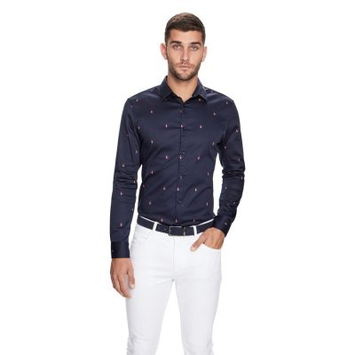 Fashion 4 Men - yd. Swallow Print Slim Fit Shirt Dark Blue Xs