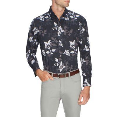 Fashion 4 Men - Tarocash Floral Geo Print Shirt Black Xs