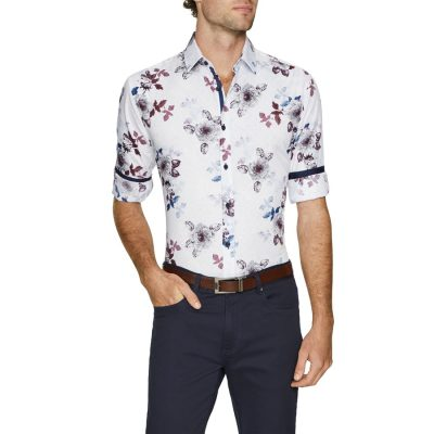 Fashion 4 Men - Tarocash Leonardo Slim Print Shirt White S