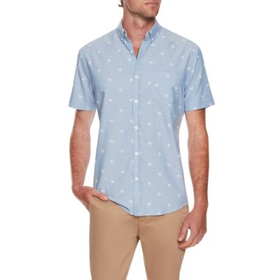 Fashion 4 Men - Tarocash Mini Palm Print Shirt Sky 5 Xl