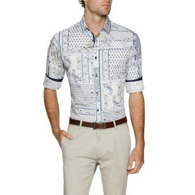 Fashion 4 Men - Tarocash Pedro Slim Print Shirt White Xxxl