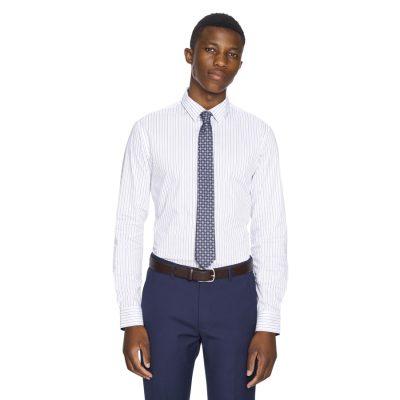 Fashion 4 Men - yd. Dynamo Slim Fit Dress Shirt White/Navy M