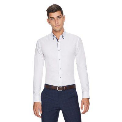 Fashion 4 Men - yd. Eurofloral Trim Slim Fit Shirt White 3 Xs