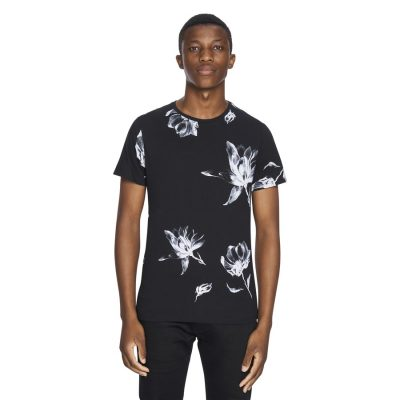 Fashion 4 Men - yd. Large Floral Tee Black 2 Xl