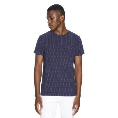 Fashion 4 Men - yd. Micro Print Tee Dark Blue 2 Xs