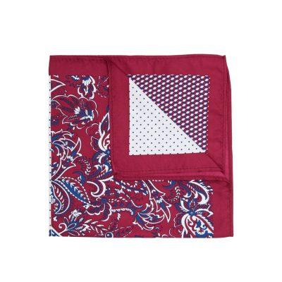 Fashion 4 Men - yd. Ornate Paisley Pocket Square Burgundy One