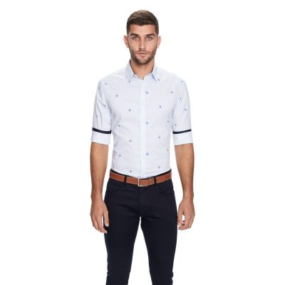 Fashion 4 Men - yd. Striped Bird Slim Fit Shirt White Xl