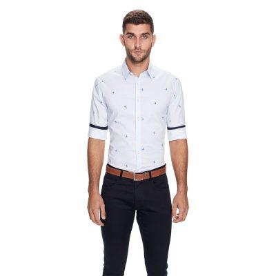 Fashion 4 Men - yd. Striped Bird Slim Fit Shirt White Xxxl