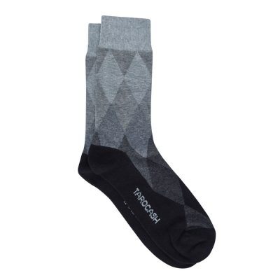 Fashion 4 Men - Tarocash Argyle Fashion Sock Black 1