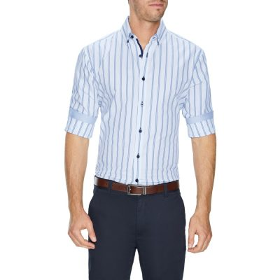 Fashion 4 Men - Tarocash Eric Slim Stripe Shirt White L