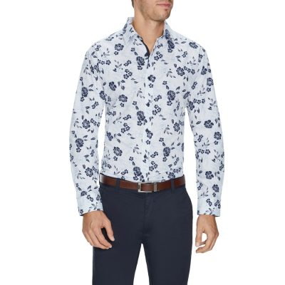 Fashion 4 Men - Tarocash Forrester Slim Floral Shirt White L