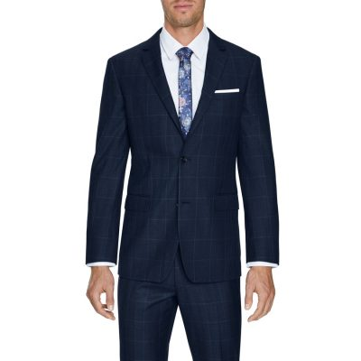 Fashion 4 Men - Tarocash Hemsworth Slim 2 Button Check Blue 46