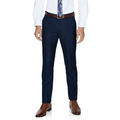 Fashion 4 Men - Tarocash Hemsworth Slim Check Pant Blue 32
