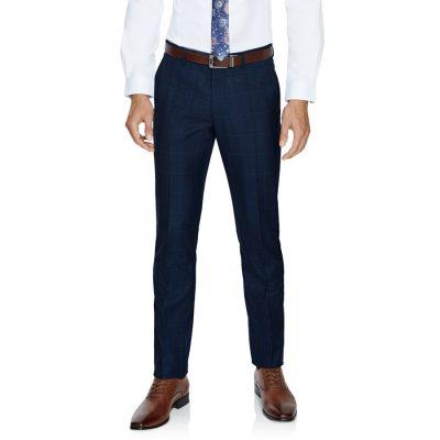 Fashion 4 Men - Tarocash Hemsworth Slim Check Pant Blue 34