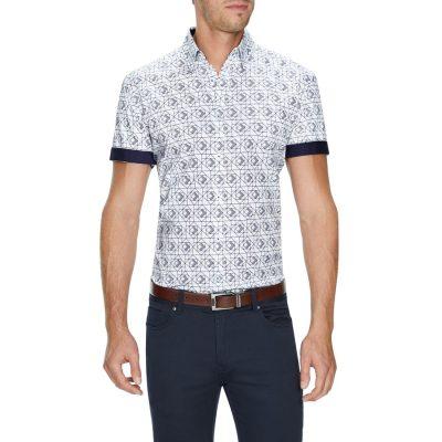 Fashion 4 Men - Tarocash Mateo Geo Print Shirt White Xxxl