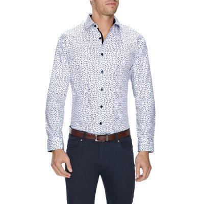 Fashion 4 Men - Tarocash Mini Flamingo Slim Print Shirt White Xs
