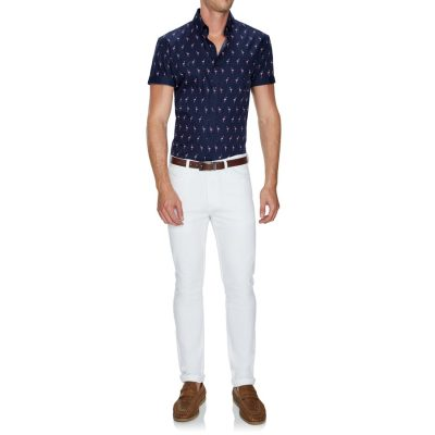 Fashion 4 Men - Tarocash Paradise Flamingo Print Shirt Navy M