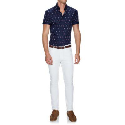Fashion 4 Men - Tarocash Paradise Flamingo Print Shirt Navy Xxl