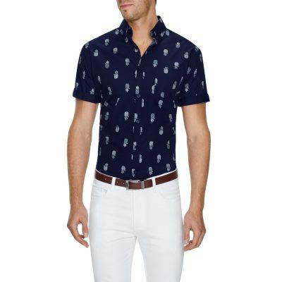 Fashion 4 Men - Tarocash Pineapple Print Shirt Navy 4 Xl