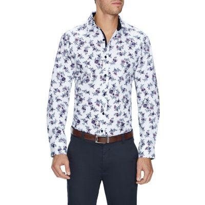 Fashion 4 Men - Tarocash Rick Stretch Floral Shirt White M