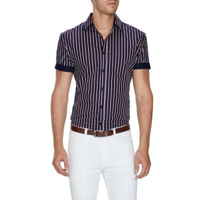 Fashion 4 Men - Tarocash Santiago Stripe Shirt Navy Xxl