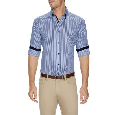 Fashion 4 Men - Tarocash Storm Stripe Shirt Blue 4 Xl